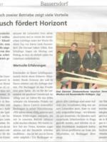 "Lehrlinge im ""Dorf- Blitz"", Arbeitsaustausch fördert Horizont, 11/2017"