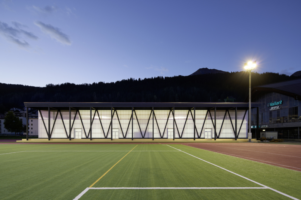 Training Hall HCD, Davos, Graubuenden Mass Timber Construction with Facade Construction