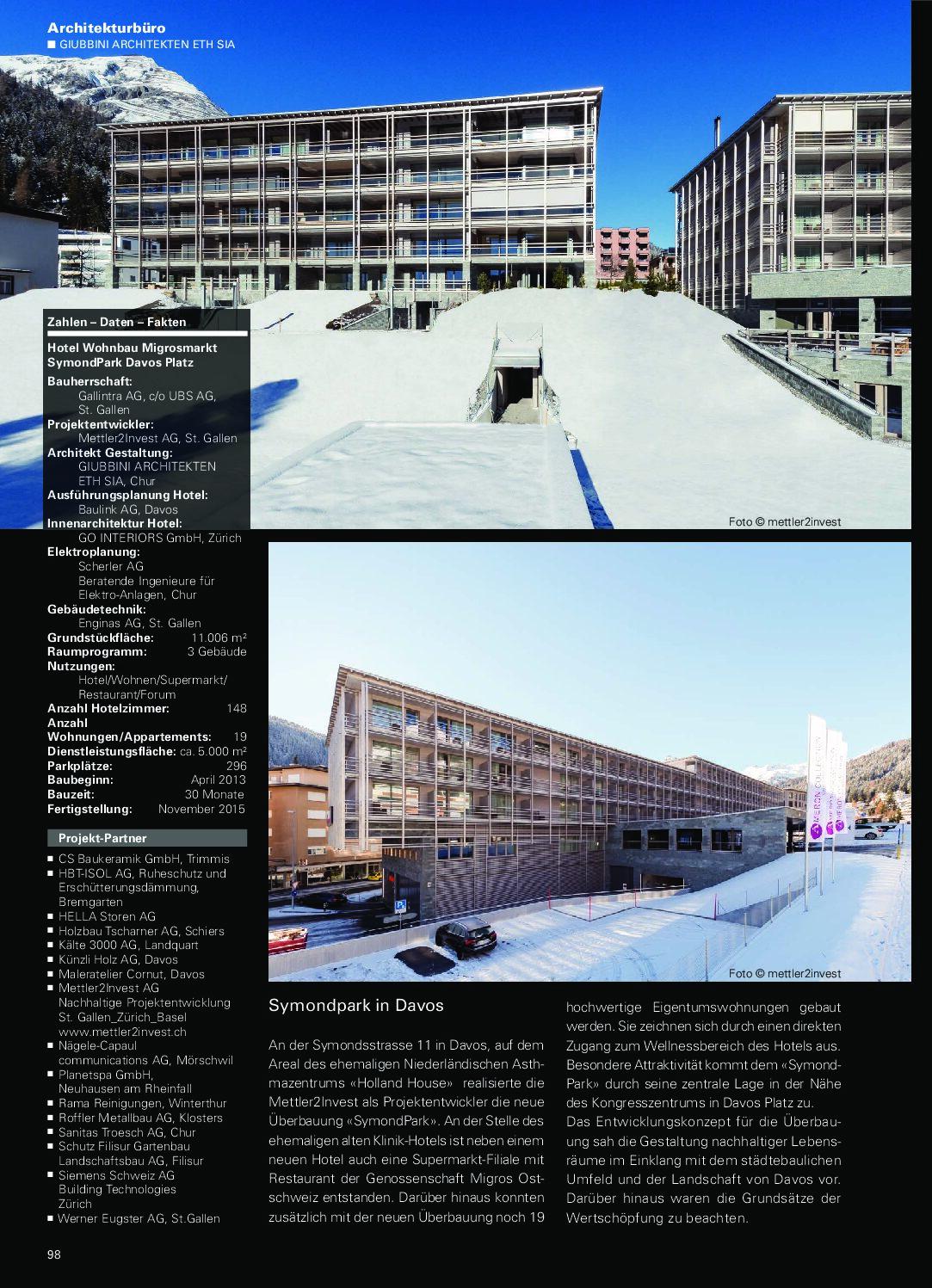 """Hotel Wohnbau Migrosmarkt SymondPark im """"architektur zürich ostschweiz"""", 2016/17"""