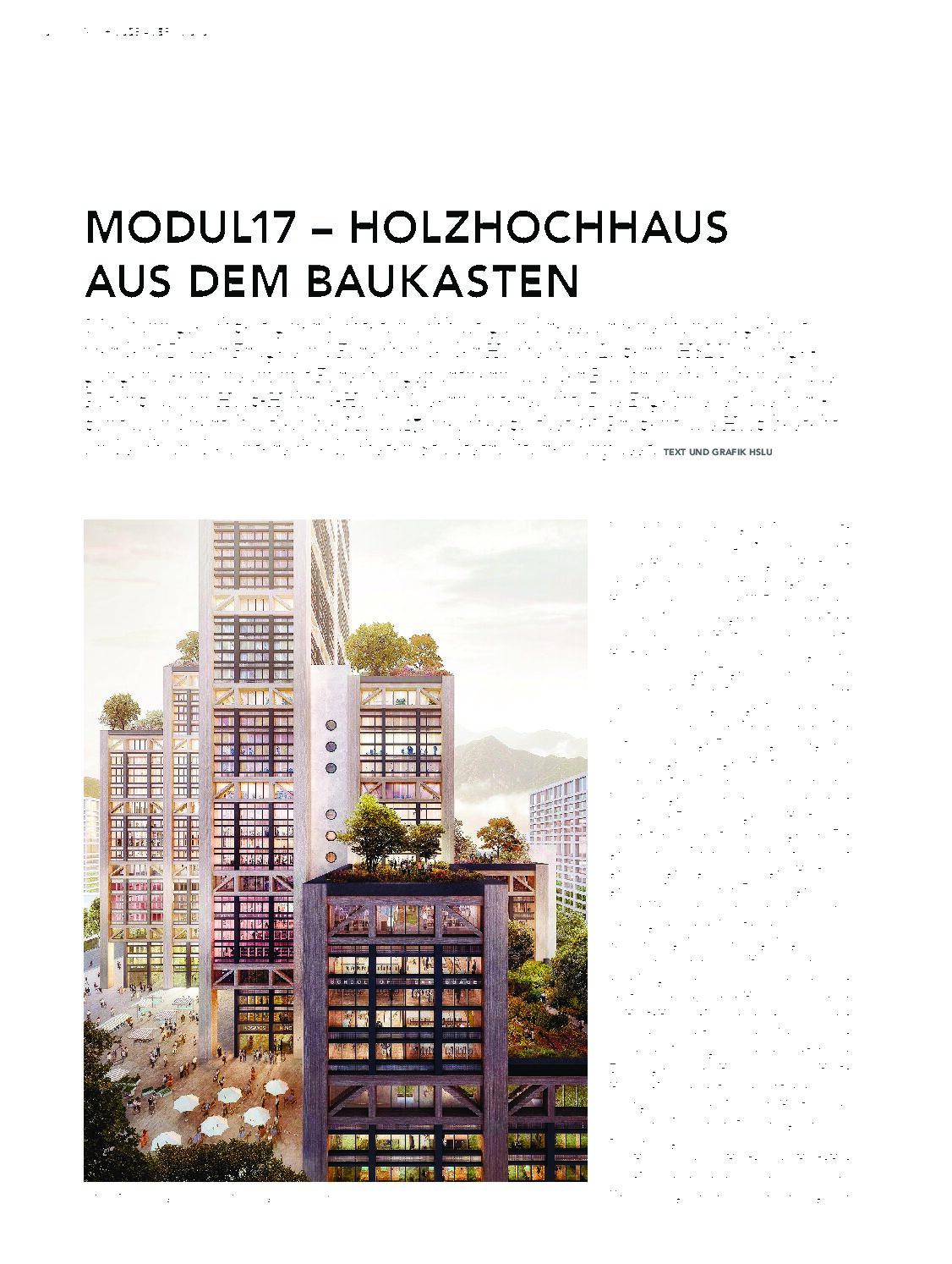 """Modul 17-Holzhochhaus aus dem Baukasten in """"Wir HOLZBAUER""""  3/2020 April"""