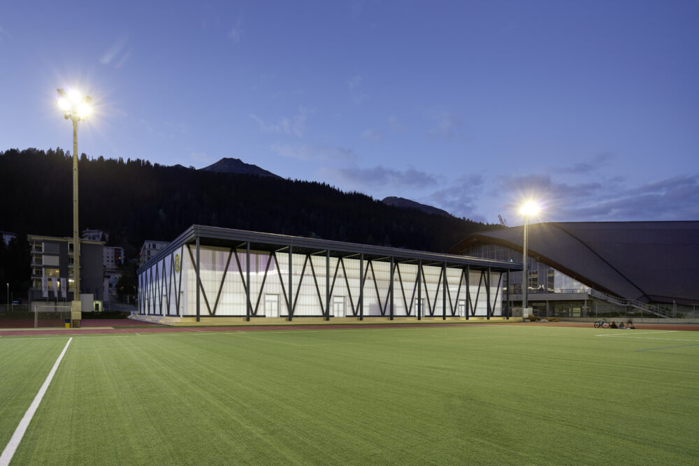 Training Hall HCD, Davos Mass Timber Construction with Facade Construction